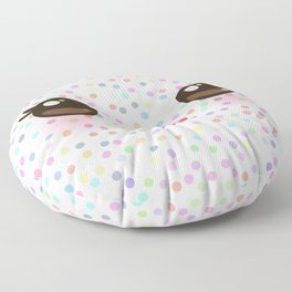 Kawaii funny muzzle with pink cheeks and eyes on white polka dot background Floor Pillow