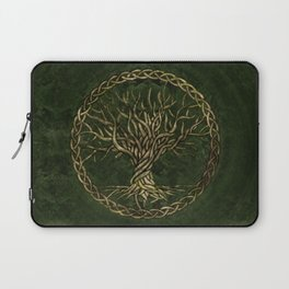 Tree of life -Yggdrasil -green and gold Laptop Sleeve