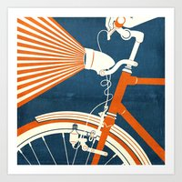 bicycle Art Prints featuring Bicycle Light by Fernando Vieira