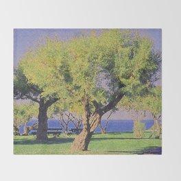 Tamarisk Trees Overlooking the Ocean Throw Blanket