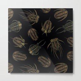 Trilobites - Marine Fossil Pattern Metal Print