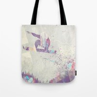 snowboarding Tote Bags featuring Explorers IV by HappyMelvin