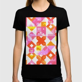 X Square Bubblegum Geometric Pattern T-shirt