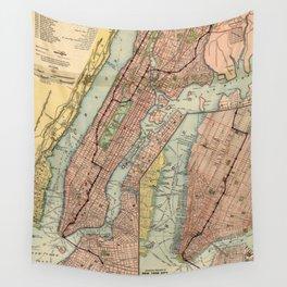Vintage NYC Subway Map (1903) Wall Tapestry