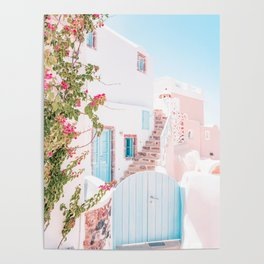 Santorini Greece Mamma Mia Pink House Travel Photography in hd. Poster