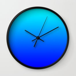 Aqua Blue Bright Ombre Wall Clock