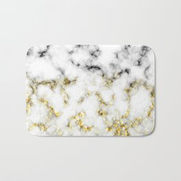 Black and white marble gold sparkle flakes Bath Mat