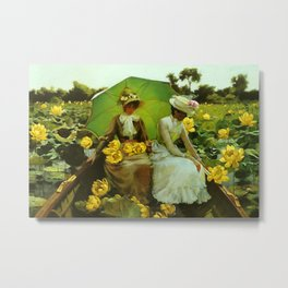 Spectacular 'Yellow Lotus Lilies' Floral Lily Pond portrait painting Charles Courtney Curran Metal Print