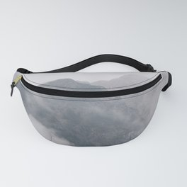 Twin Mountain Peaks Foggy Misty Pine Forest Landscape Photography Fanny Pack