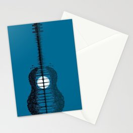 Trees sea and the moon turned guitar Stationery Cards