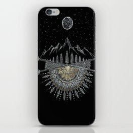 Moon and Stars Night Sky Mountain Range Arrow Mandala iPhone Skin