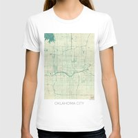 oklahoma T-shirts featuring Oklahoma City Map Blue Vintage by City Art Posters