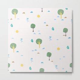Summer Seamless Pattern with trees, sun, drops of rain, flowers, berries Metal Print