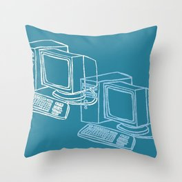 Blue Computer Throw Pillow