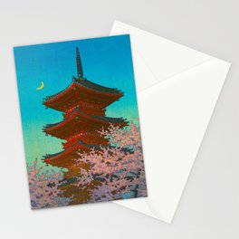 Vintage Japanese Woodblock Print Pastel Colors Blue pink Teal Shinto Shrine Cherry Blossom Tree Stationery Cards