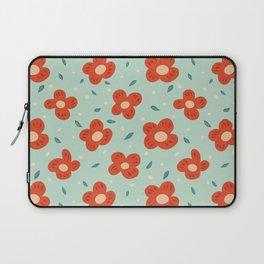 Simple Pretty Orange Flowers Pattern Laptop Sleeve