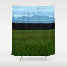 Parallel Horizontal Ink Sky Mountain and Field Shower Curtain