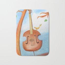 Bird and cello Bath Mat