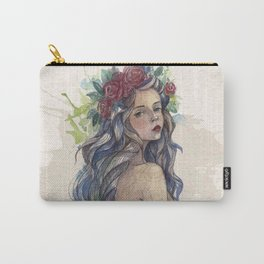 face beautiful girl drawe flowers Carry-All Pouch