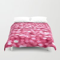 glitter Duvet Covers featuring Bubblegum Pink Glitter Sparkles by WhimsyRomance&Fun