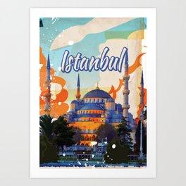 Istanbul Aya Sophia Mosque vintage travel poster Art Print