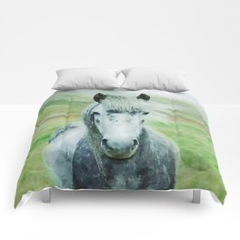 White horse close up watercolor painting Comforters