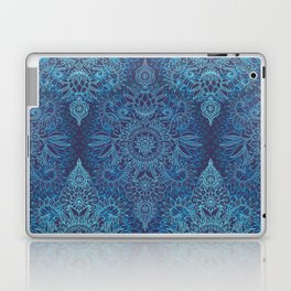 Aqua, Cobalt Blue & Purple Protea Doodle Pattern Laptop & iPad Skin