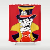 steam punk Shower Curtains featuring Steam Punk Vampire Skull by J&C Creations