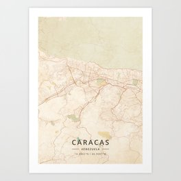 Caracas, Venezuela - Vintage Map Art Print