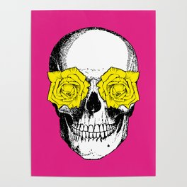 Skull and Roses | Pink and Yellow Poster