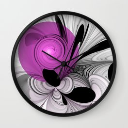 Abstract Black And White With Orchid Wall Clock