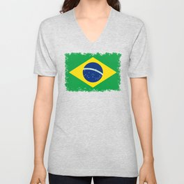 Flag of Brazil - Hi Quality Authentic version Unisex V-Neck