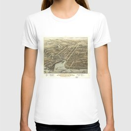 Vintage Pictorial Map of Plattsburgh NY (1877) T-shirt