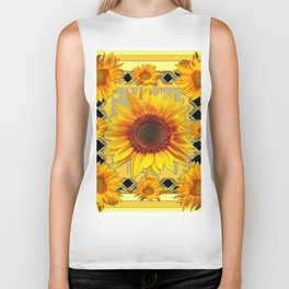 Western Black Golden Sunflowers Art Biker Tank