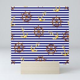 Nautical pattern with gold anchor, ship steering wheel Mini Art Print
