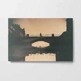 Crossing the bridge in an upside down world Metal Print