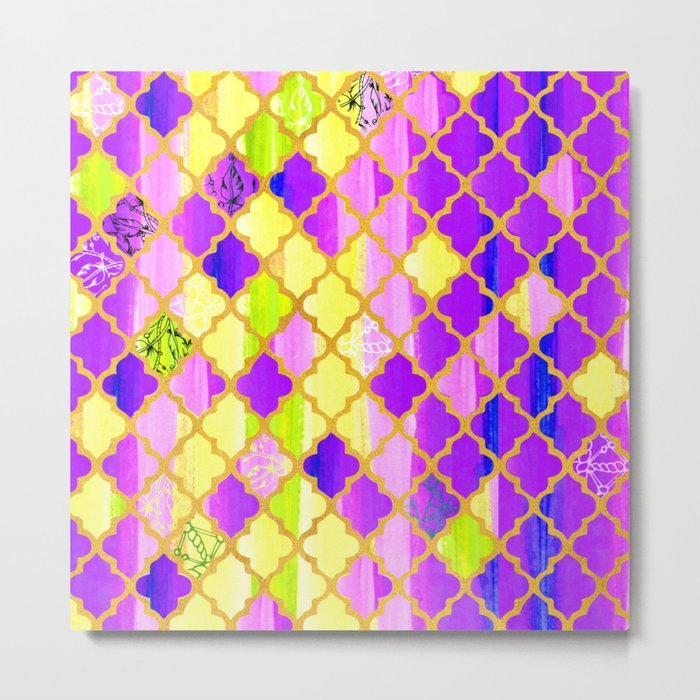 Moroccan Tile Pattern In Purple And Yellow Metal Print