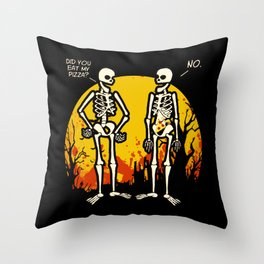Did You Eat My Pizza Funny Halloween Skeletons Throw Pillow