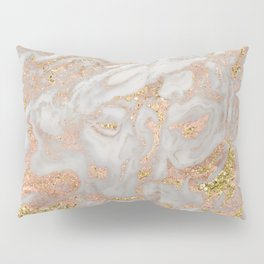 Rose gold marble dazzling swirl Pillow Sham