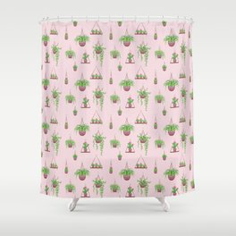 Mother, Macramé I? - Hanging Plants on Pink Shower Curtain