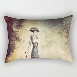 VINTAGE FASHION LADY IN ABSTRACT FOREST Rectangular Pillow