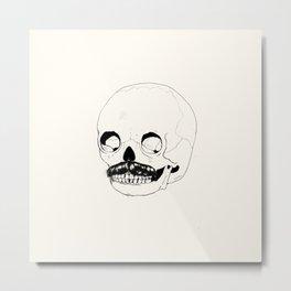 Moustatche Skull Metal Print