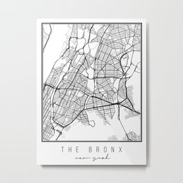 The Bronx New York Street Map Metal Print