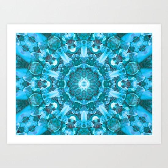 Blue mandala of the stones Art Print