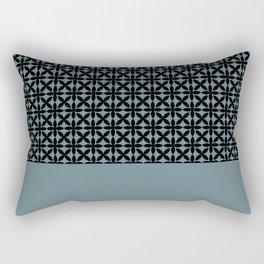 Black Square Petals Graphic Design Pattern on PPG Paint Artifact Blue Rectangular Pillow