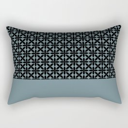 Black Square Petals Graphic Design Pattern on PPG Paint Artifact Blue Rectangular Pillow