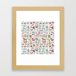 Winter Animals with Scarves Doodle Framed Art Print
