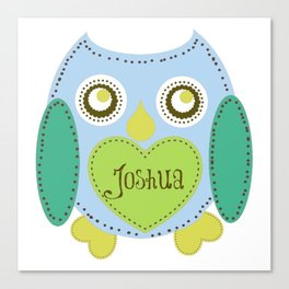 Lovely Owl - blue- Personalized Joshua  Canvas Print