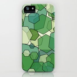 Converging Hexes - Green and Yellow iPhone Case