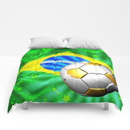 Brazil Flag Gold Green and Soccer Ball Comforters